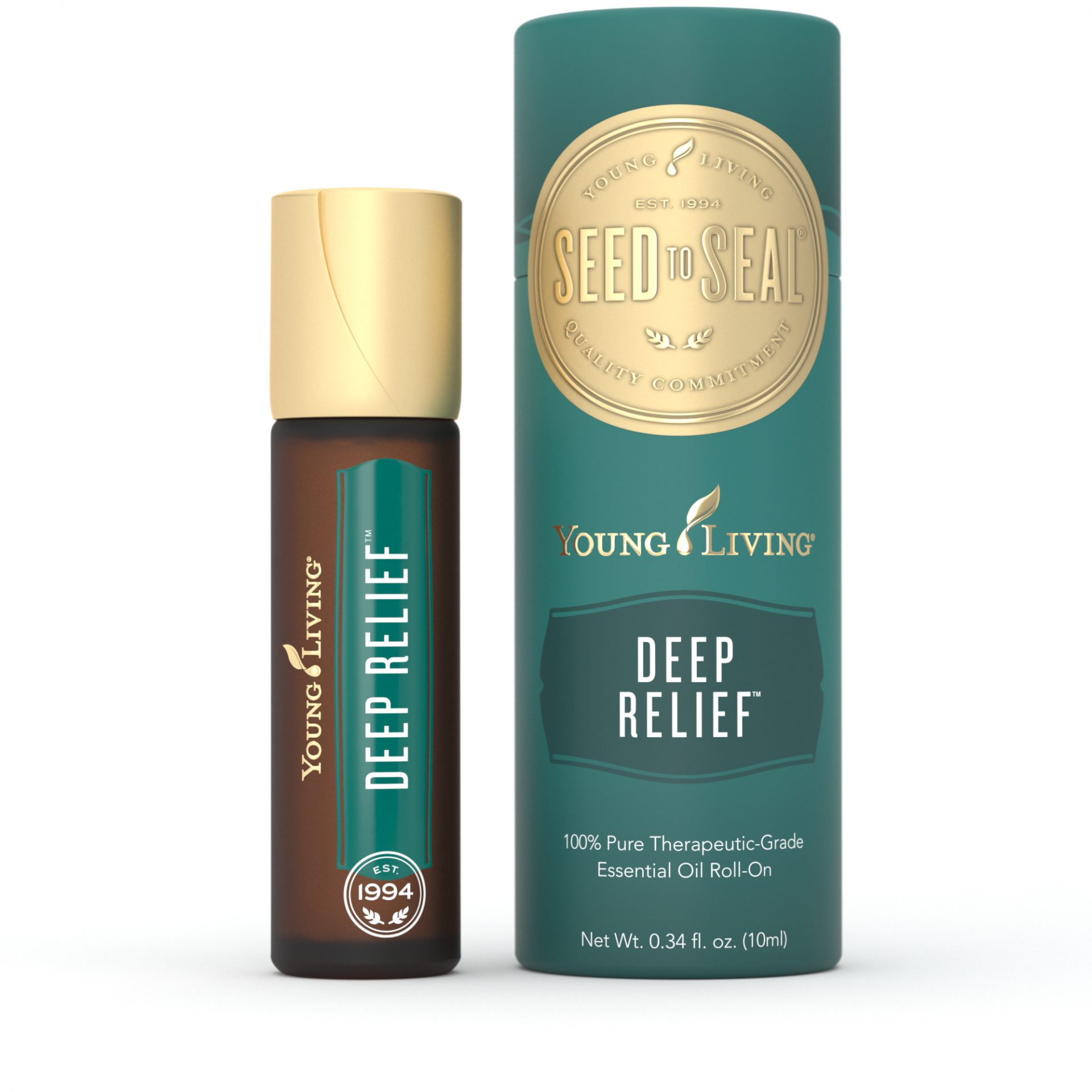 10 ml bottle of deep relief roll on with outer packaging